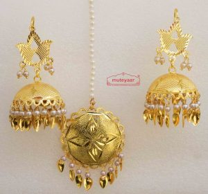 Golden katori Lotan Tikka Earrings Set J0515