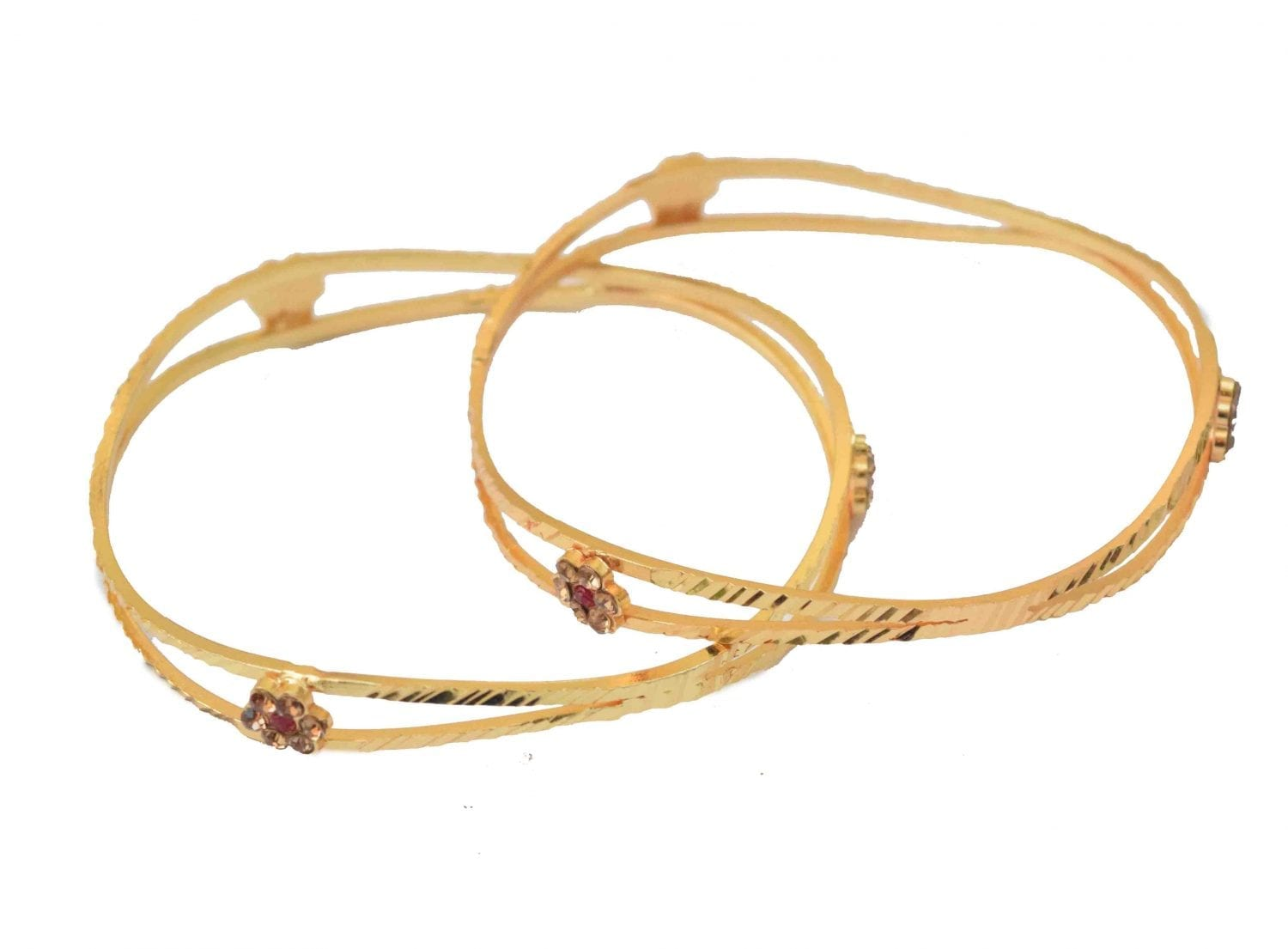 Sleek Golden designer bangles pair BN153