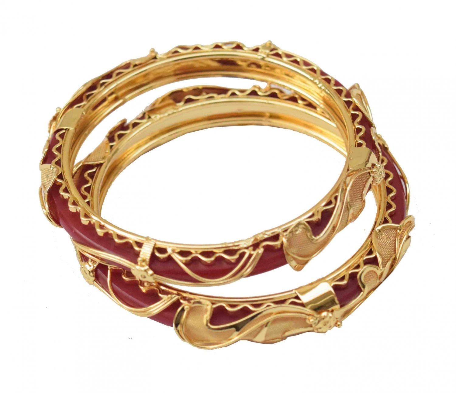 Red Golden designer kangan bangles set of 2 pieces BN161 1