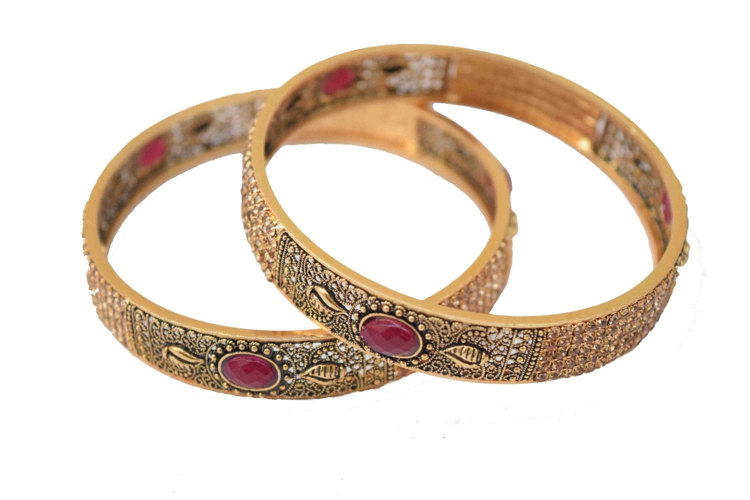 Antique Golden designer bangles with ruby colour stone BN163 1
