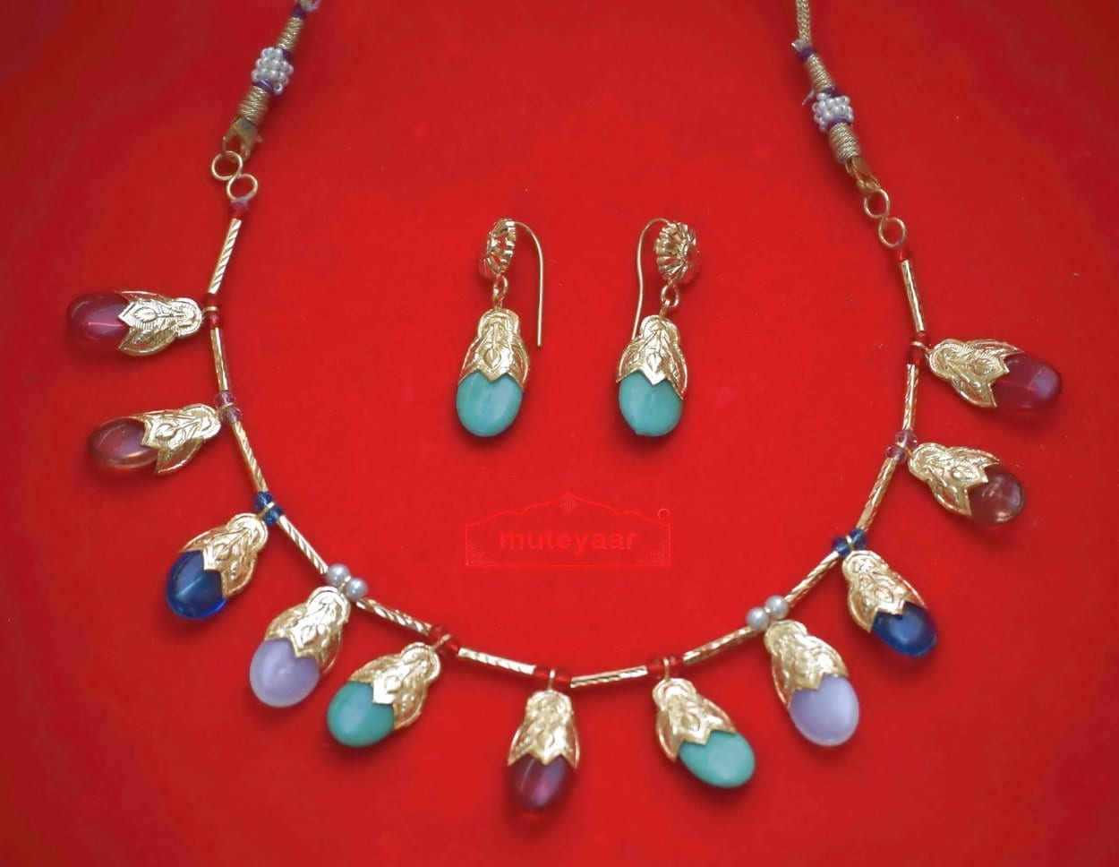 24 Ct. Gold Plated Multicolour Traditional Punjabi Jewellery Dakh set 1