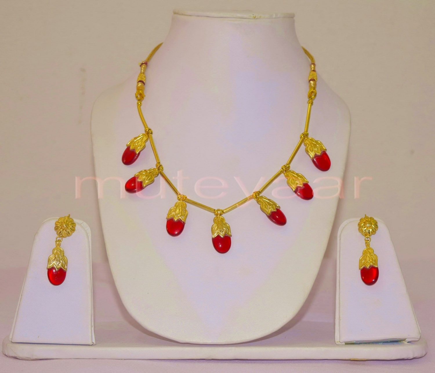 ORIGINAL GOLD PLATED Traditional Punjabi Dakh set with Red Stones 1