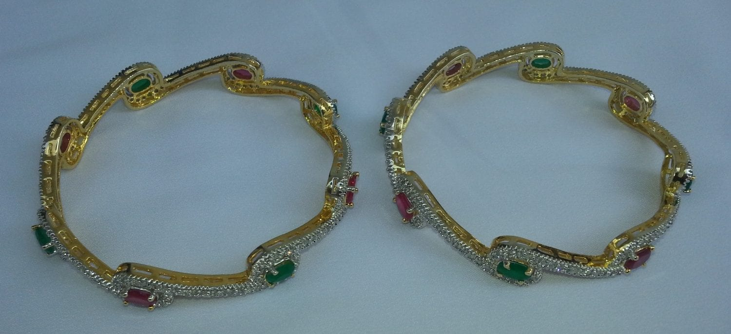Gold Plated chooriyaan with stones work , set of two pcs J0101 2