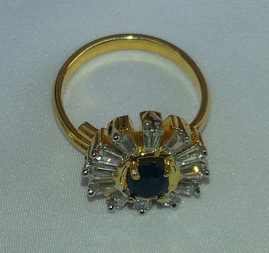 Gold Plated adjustable size ring with Navy Blue Stone 1