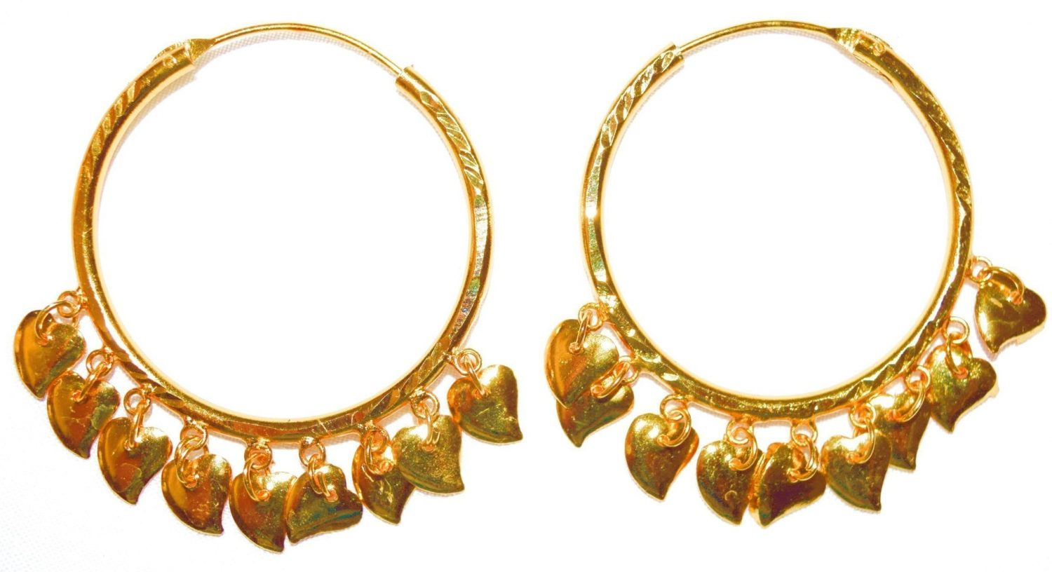 Gold Polished Ear Rings Baliyyan set with Golden Pattiyaan J0122 1