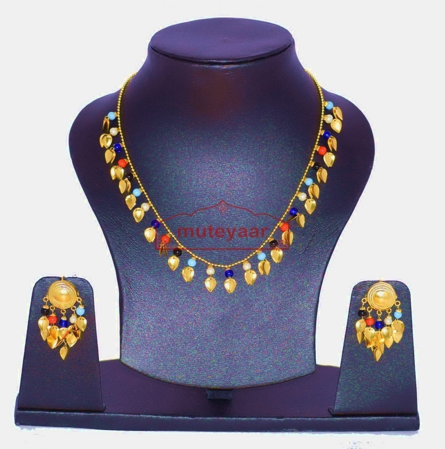 24 Ct. Gold Plated Traditional Punjabi chain set with Moti Beads J0134 1