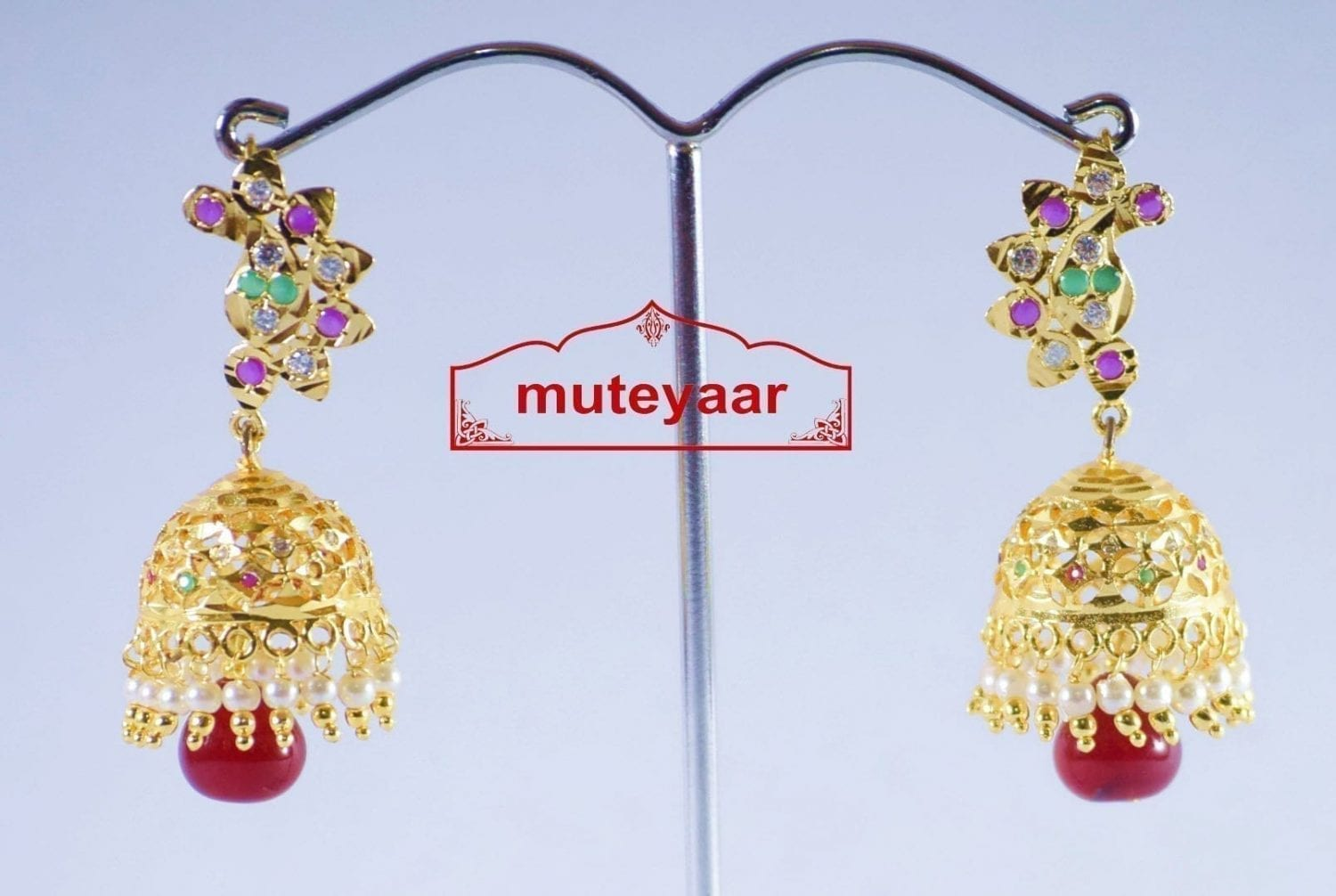 Jadau Gold Polished Traditional Punjabi Earrings set J0142 2
