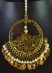 24 Ct. Gold Plated Big Size Traditional Punjabi Tikka Maang Teeka J0180