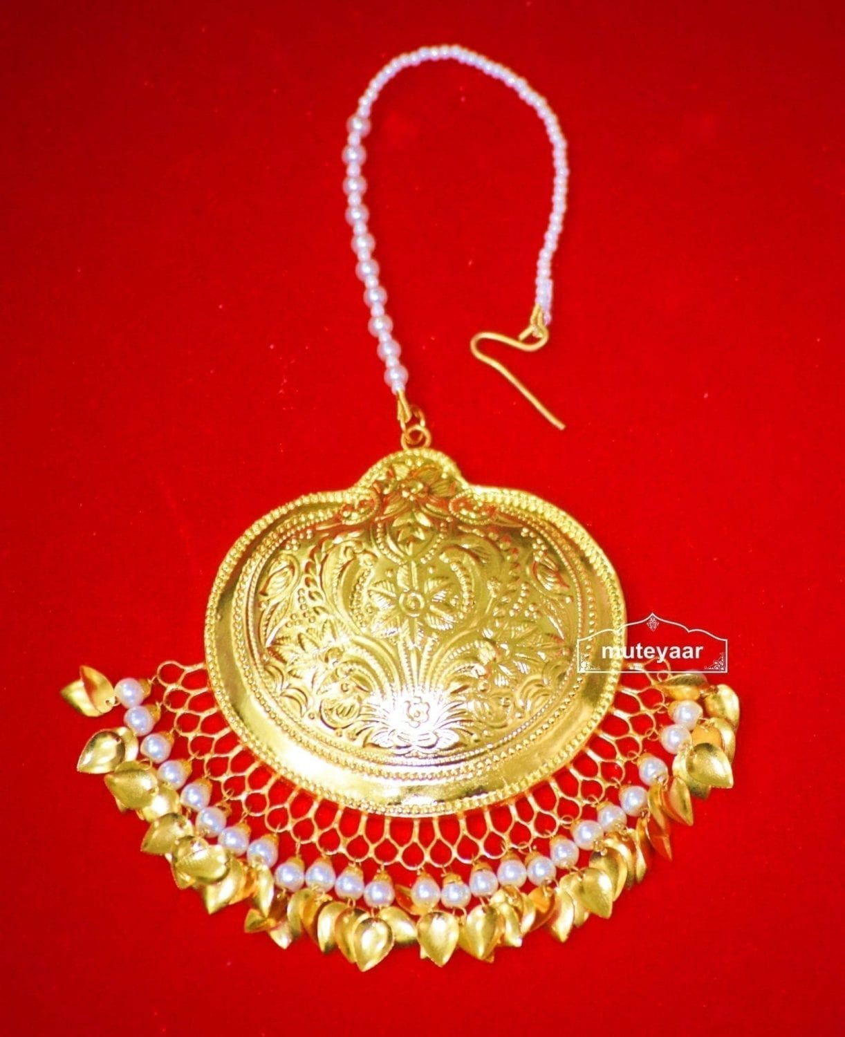 24 Ct. Gold Plated Big Size Traditional Punjabi Tikka Maang Teeka J0182 1