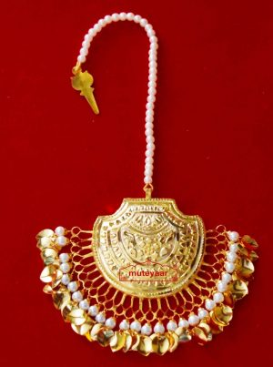 24 Ct. Gold Plated Big Size Traditional Punjabi Tikka Maang Teeka J0183