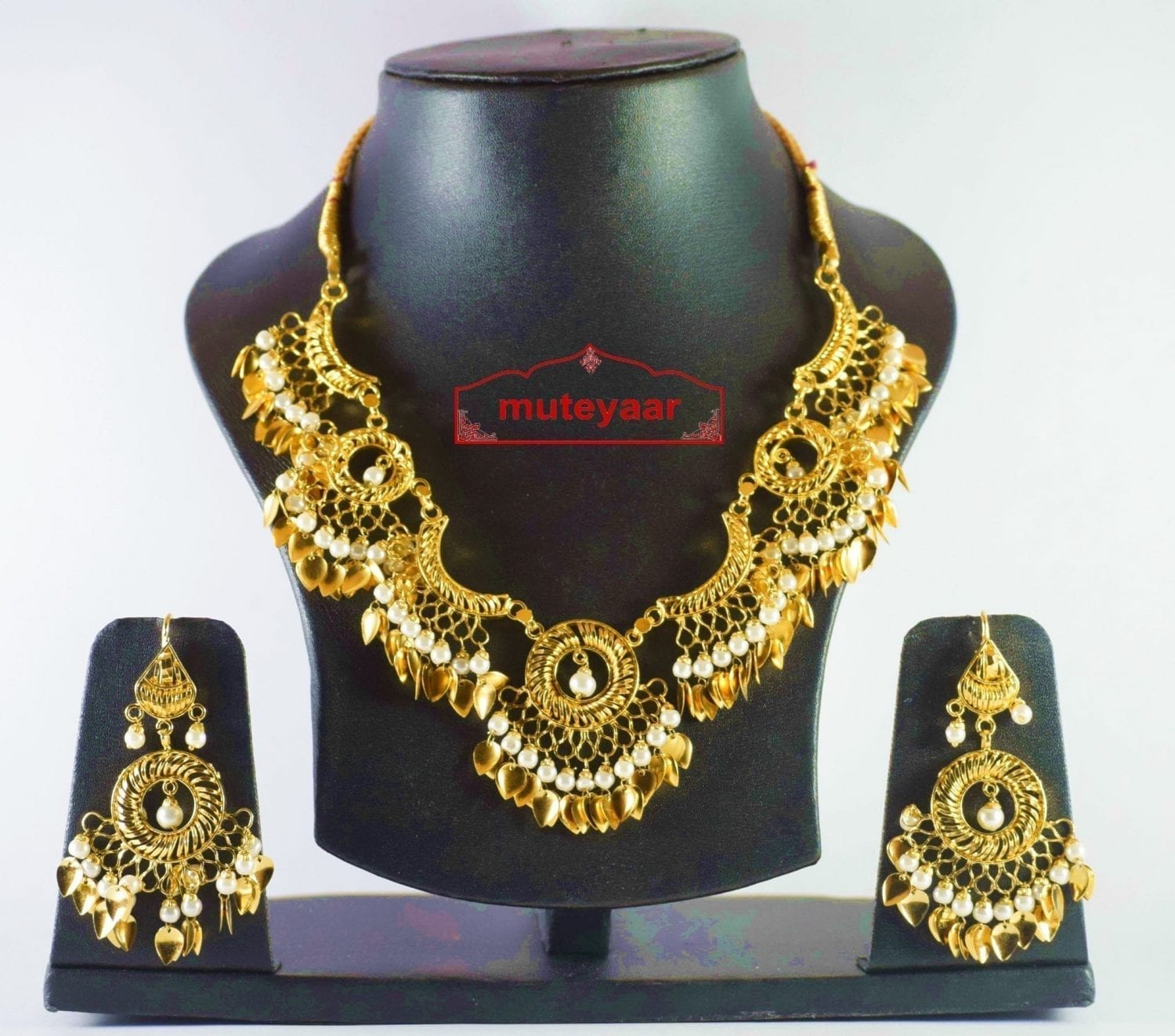Hand Made Gold Plated Traditional Punjabi Jewellery Earrings Tikka Pendant set J0184 1