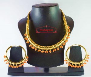 Gold Polish Traditional Punjabi jewellery Hasli Necklace & Bali set J0188