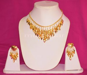 24 Ct. Gold Plated Traditional Punjabi Necklace Earrings jewellery set J0207