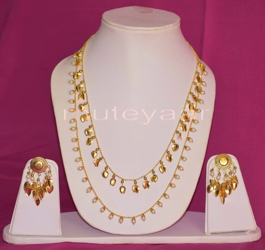 24 Ct. Gold Plated Traditional Punjabi Double Chain Earrings jewellery set J0208 1