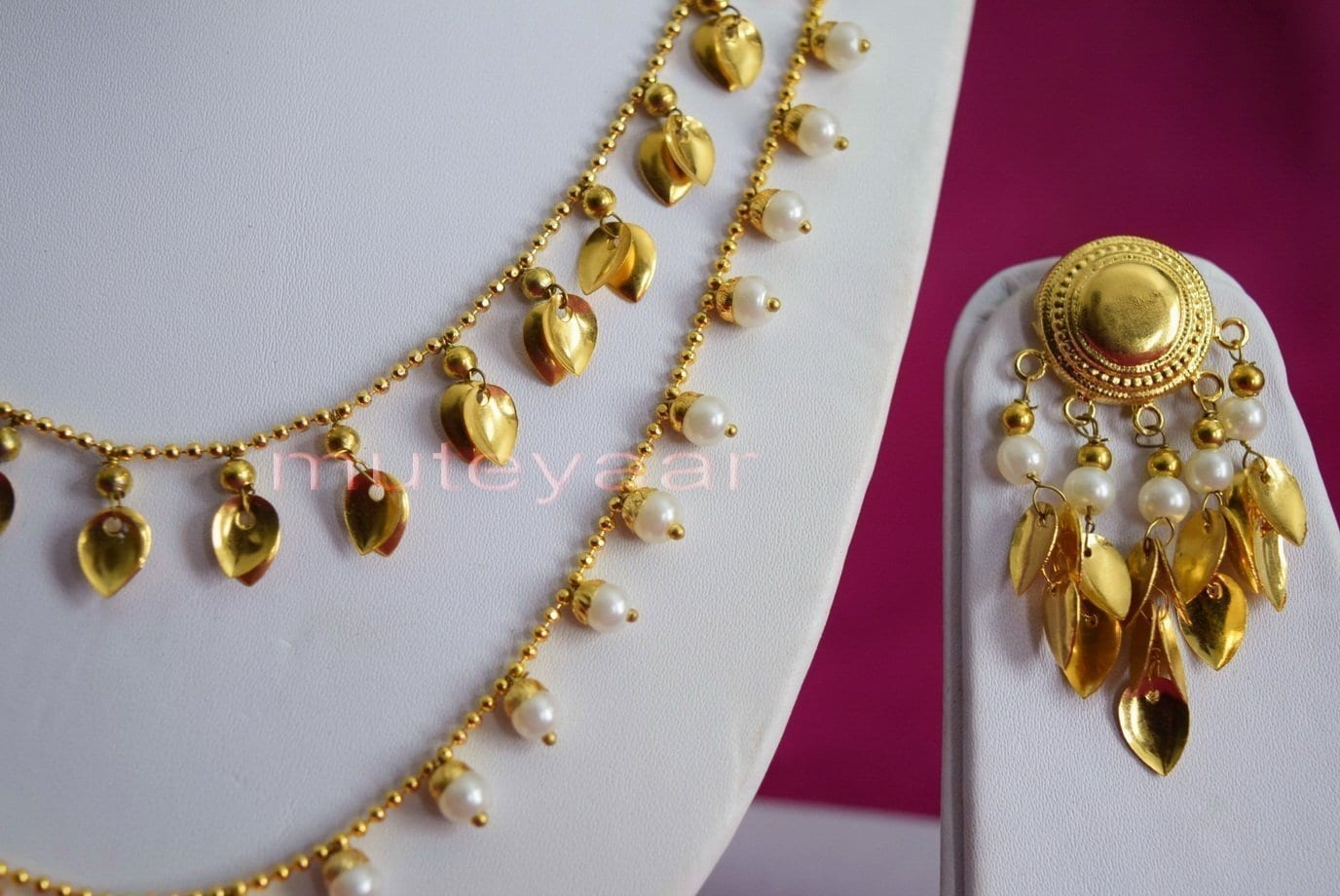 24 Ct. Gold Plated Traditional Punjabi Double Chain Earrings jewellery set J0208 2
