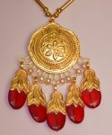 24 Ct. Gold Plated Traditional Punjabi Full Dakh Set jewellery with Tikka  J0209