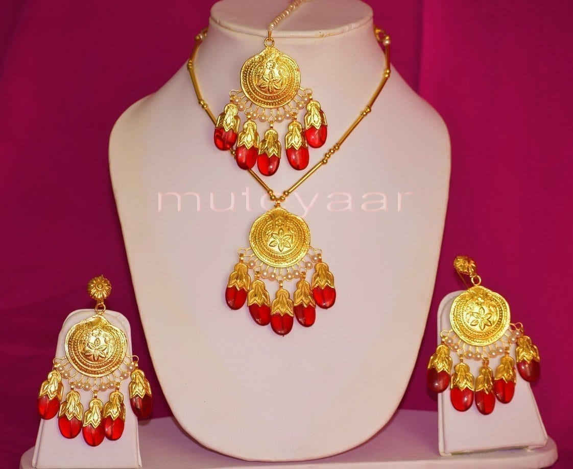 24 Ct. Gold Plated Traditional Punjabi Dakh Set jewellery with Tikka  J0210 1