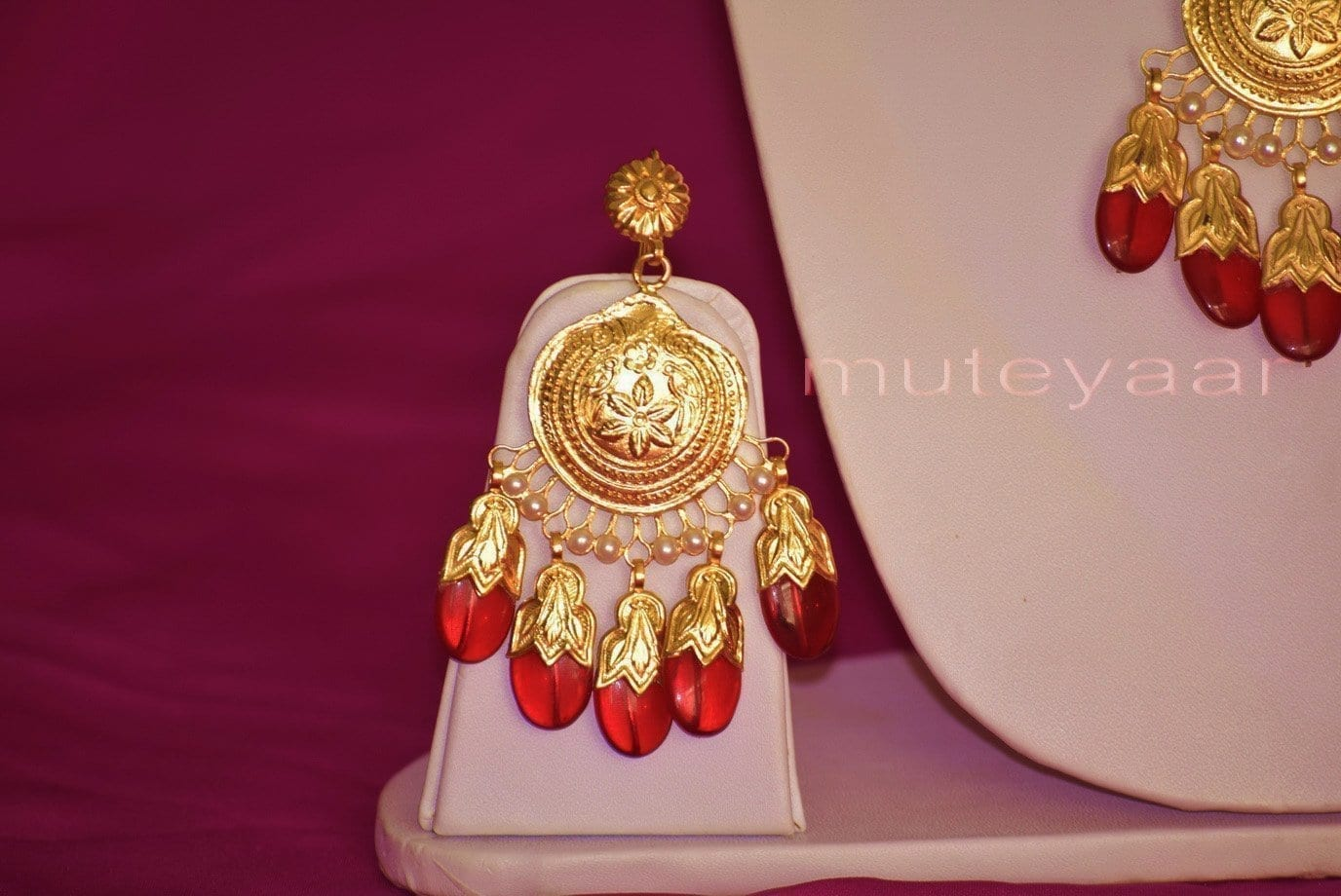 24 Ct. Gold Plated Traditional Punjabi Dakh Set jewellery with Tikka  J0210 3