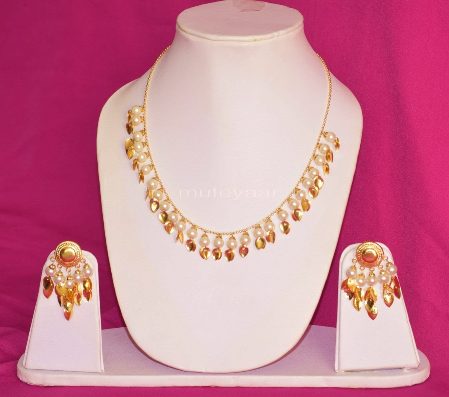24 Ct. Gold Plated Traditional Punjabi chain set with Moti Beads J0212 1