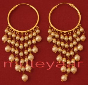 Traditional Punjabi Handmade Gold Plated Ear Rings Baliyyan set with White Beads J0215