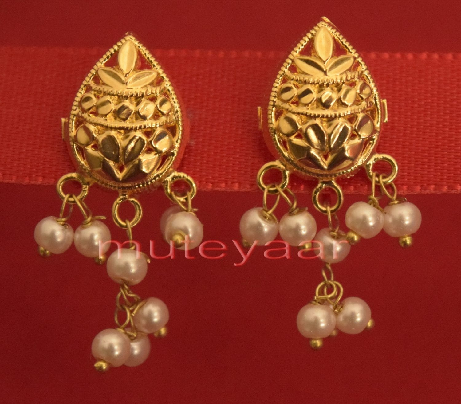 Hand Made Gold Plated Punjabi Traditional Jewellery Earrings Tops J0220 1