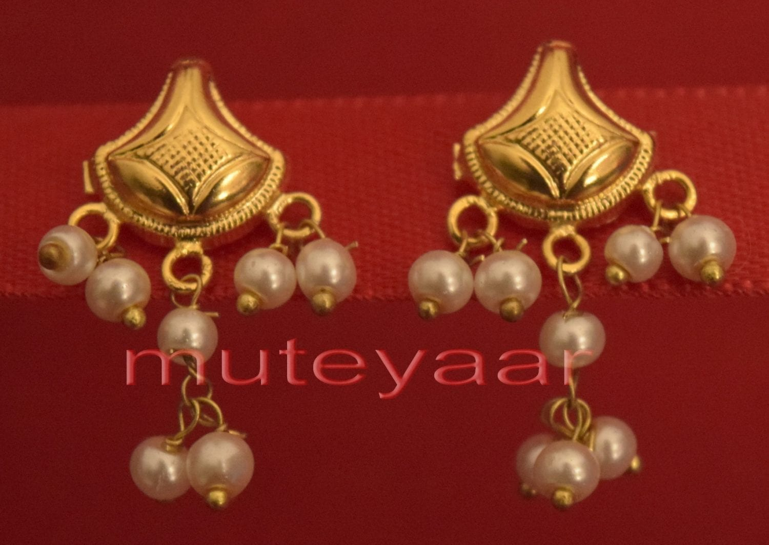 Hand Made Gold Plated Punjabi Traditional Jewellery Earrings Tops J0221 1