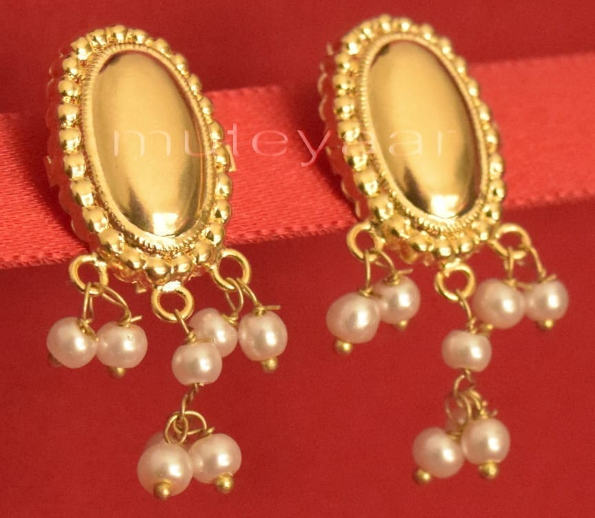 Hand Made Gold Plated Punjabi Traditional Jewellery Earrings Tops J0222 1