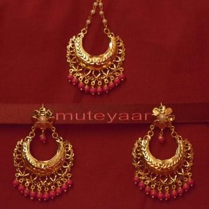 Gold Plated Traditional Punjabi Jewellery Earrings + Tikka set J0232