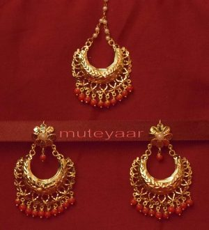 Gold Plated Traditional Punjabi Jewellery Earrings + Tikka set J0233