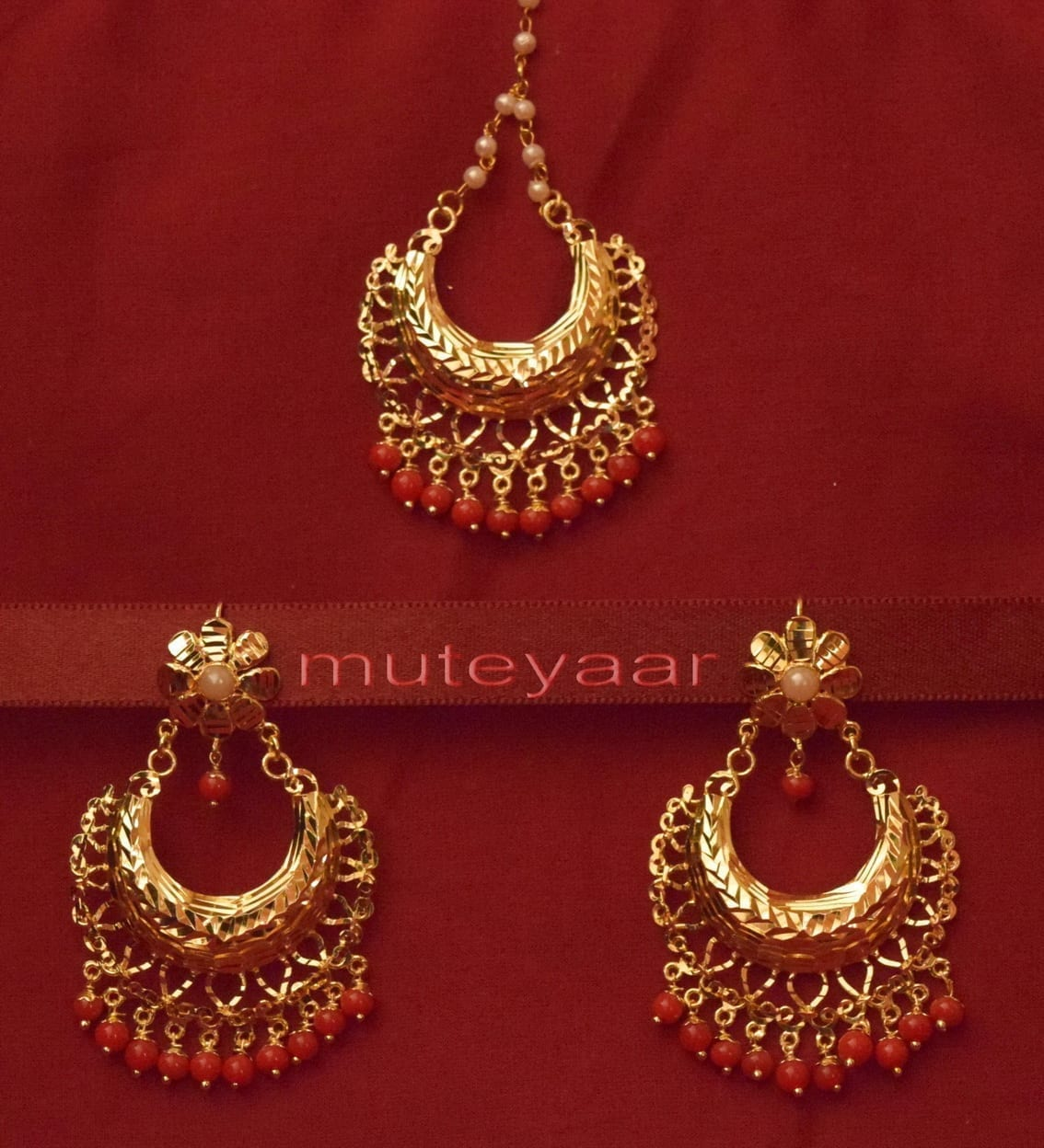 Gold Plated Traditional Punjabi Jewellery Earrings + Tikka set J0233 1