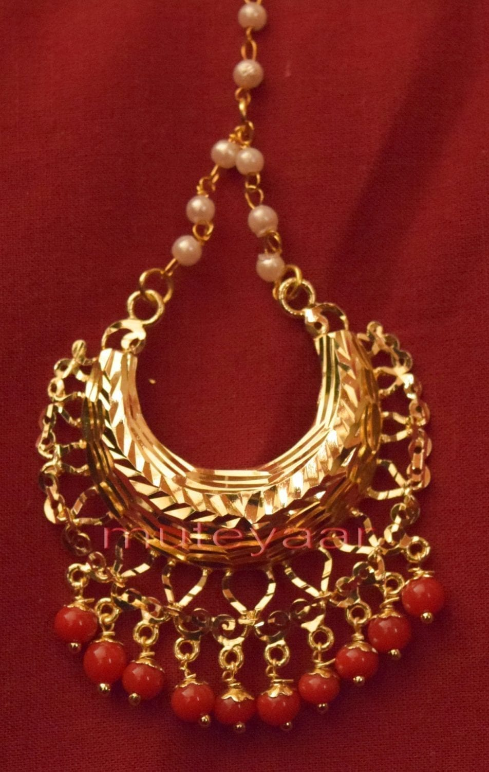 Gold Plated Traditional Punjabi Jewellery Earrings + Tikka set J0233 3