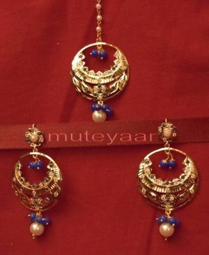 Gold Plated Traditional Punjabi Jewellery Earrings + Tikka set J0234