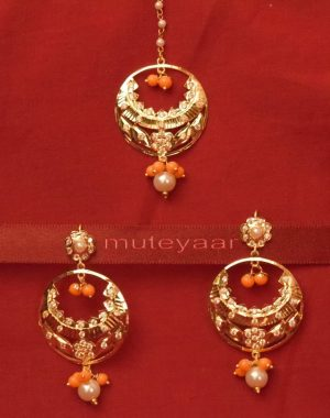 Gold Plated Traditional Punjabi Jewellery Earrings + Tikka set J0238