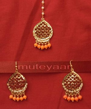 Gold Plated Traditional Punjabi Jewellery Earrings + Tikka set J0240