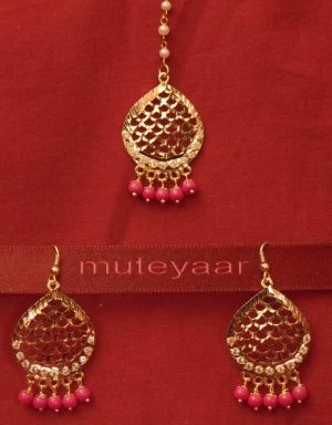 Gold Plated Traditional Punjabi Jewellery Earrings + Tikka set J0244