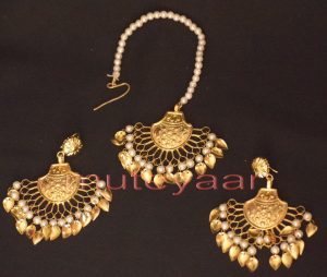 Gold Plated Traditional Punjabi Jewellery Earrings + Tikka set J0247
