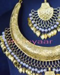 Gold Plated Traditional Punjabi Handmade jewellery Hasli Necklace Earrings Tikka set J0252