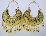 Thappa Work Gold Plated Punjabi Traditional Jewellery Earrings set J0268