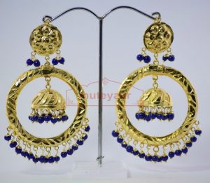 Blue Beads Gold Plated Punjabi Traditional Jewellery Earrings Long Jhumka J0285