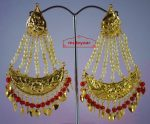 Gold Polished Punjabi Traditional Jewellery Earrings Long Jhumka J0297