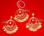 Hand Made Gold Plated Traditional Punjabi Jewellery Earrings Tikka set J0303