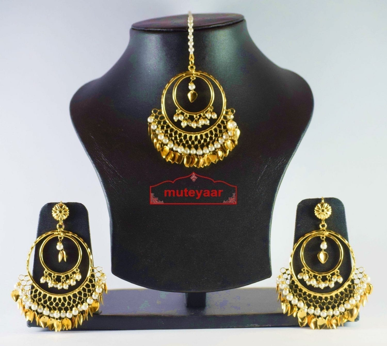 Hand Made Gold Plated Traditional Punjabi Jewellery Earrings Tikka set J0303 3