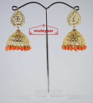 Gold Polished Traditional Punjabi Earrings Jhumiki set with Orange beads J0307