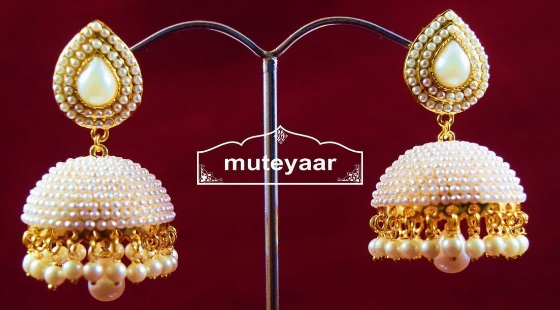 Moti Pearl Jewellery Gold Polish Traditional Punjabi Earrings Jhumka J0311 1