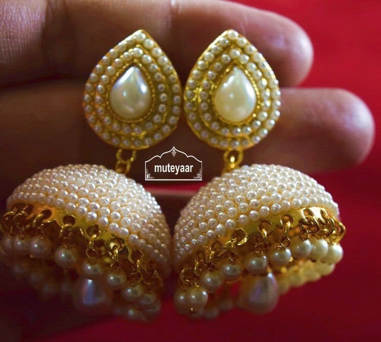 Moti Pearl Jewellery Gold Polish Traditional Punjabi Earrings Jhumka J0311 4