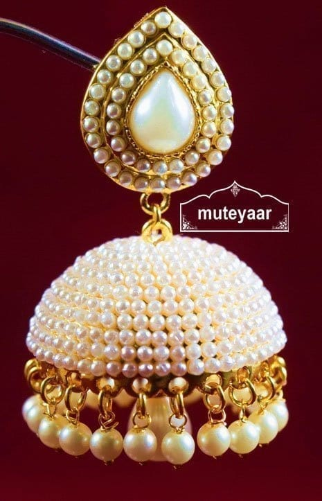 Moti Pearl Jewellery Gold Polish Traditional Punjabi Earrings Jhumka J0311 6