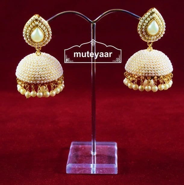 Moti Pearl Jewellery Gold Polish Traditional Punjabi Earrings Jhumka J0311 8