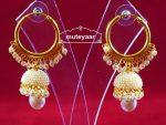 Moti Pearl Jewellery Gold Polish Traditional Punjabi Earrings small Jhumki J0312