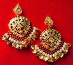 Hand Made 24 ct. Gold Plated Traditional Punjabi Jewellery Earrings Jhumka J0372