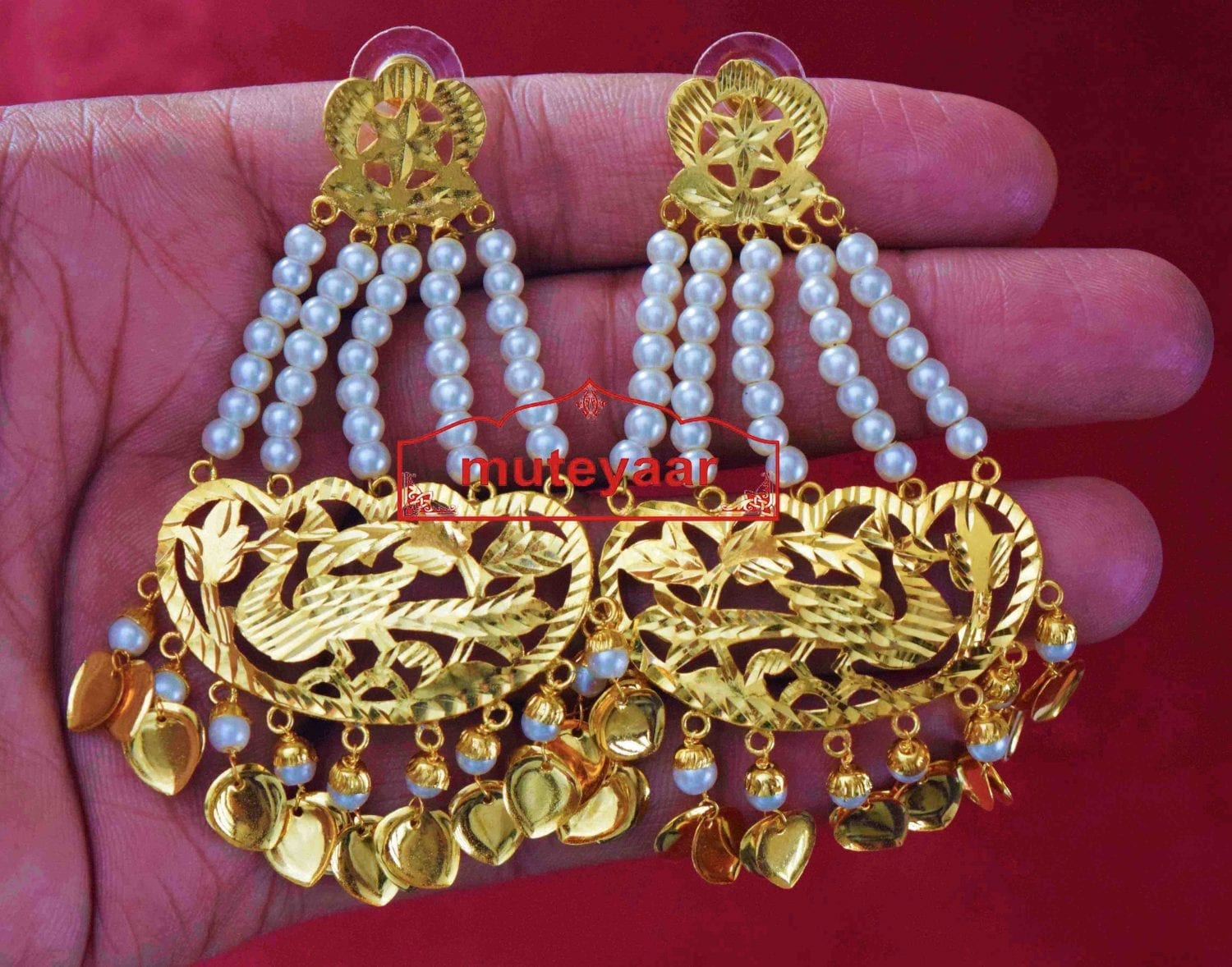 24 ct. Gold Plated  Handmade Traditional Punjabi Clip Design Earrings Jhumka J0384 2